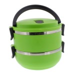 Two Tier 47oz/1.4L Stacking Insulated Lunch and Bento Box, Green