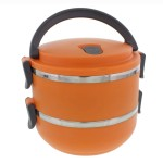 Two Tier 47oz/1.4L Stacking Insulated Lunch and Bento Box, Orange