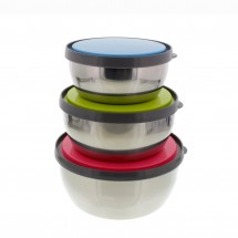 Set of 3 Stainless Steel Portable Organizers and Food Storage Containers with Color Plastic Lids