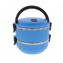 Two Tier 47oz/1.4L Stacking Insulated Lunch and Bento Box, Blue