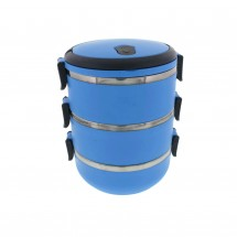 Three Tier 71oz/2.1L Stacking Insulated Lunch and Bento Box, Blue