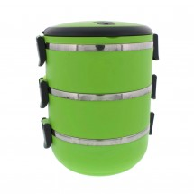 Three Tier 71oz/2.1L Stacking Insulated Lunch and Bento Box, Green