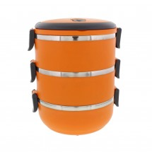 Three Tier 71oz/2.1L Stacking Insulated Lunch and Bento Box, Orange