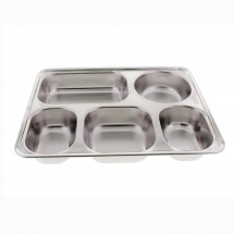 Stainless Steel 5 Compartments Cafeteria Style Serving Tray and Container