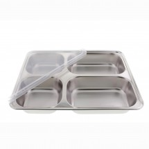 Stainless Steel 4 Compartment Cafeteria Style Serving Tray and Container