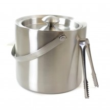 Cheftor 3qt/3L Double Wall Ice Bucket in Brushed Stainless Steel with Handle with Ice Tongs