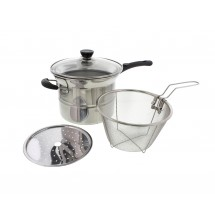 Stainless Steel 3.5qt Steamer and Deep Fryer 4 Piece Multifunctional Multi Pot