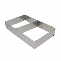 Stainless Steel Extending Rectangular Baking Mold Frame with Divider for Layer Cakes, Pastries, Mousse, Desserts and Pizza